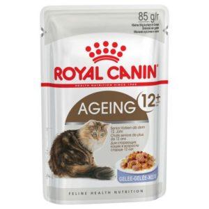 vrečke mokre hrane za mačke ageing +12 v želeju Royal Canin