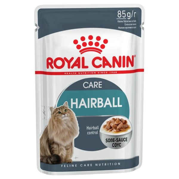Vrečka mokre hrane hairball care v omaki Royal Canin